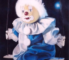 Antoine Cavalier – Hyperrealist pastel on paper 11 - 16x20 inches - The clown - Private collection