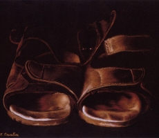Antoine Cavalier - Hyperrealist pastel on paper 13 - 20x16 inches - On the road - Painting sold