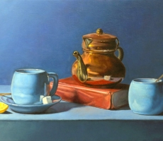 Antoine Cavalier – Hyperrealist painting on canvas 2 - 14x11 inches - The coffee break - Painting sold