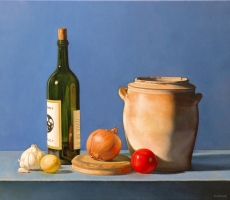 Antoine Cavalier – Hyperrealist painting on canvas 3 - 20x16 inches - The cooking - Painting sold
