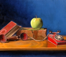 Antoine Cavalier – Hyperrealist painting on canvas 6 - 20x16 inches - The wait - Private collection