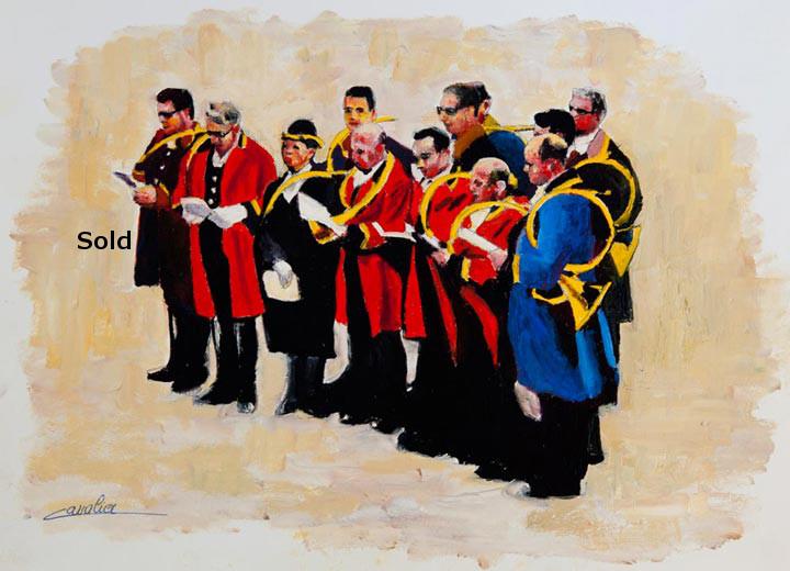 antoine-cavalier-oil-painting-on-paper-01-8x8-inches-horn-ringer-les-echos-des-provinces-private-collection