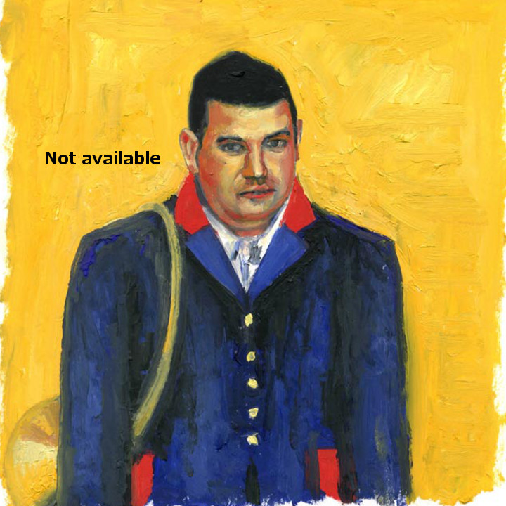 antoine-cavalier-oil-painting-on-paper-08-8x8-inches-horn-ringer-les-echos-des-provinces-not-available