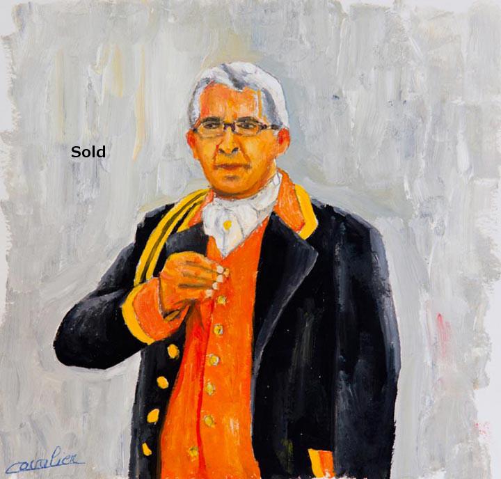 antoine-cavalier-oil-painting-on-paper-09-8x8-inches-horn-ringer-les-echos-des-provinces-private-collection