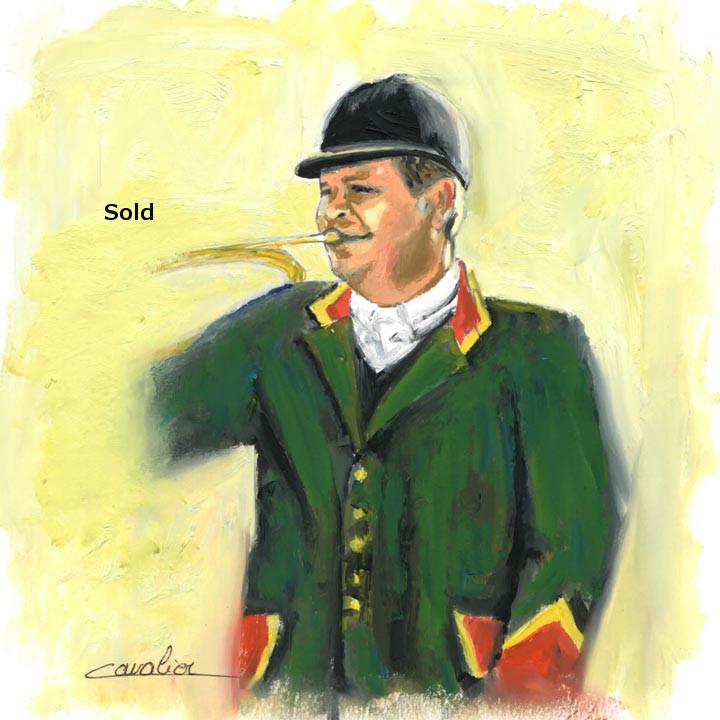 antoine-cavalier-oil-painting-on-paper-10-8x8-inches-horn-ringer-les-echos-des-provinces-private-collection