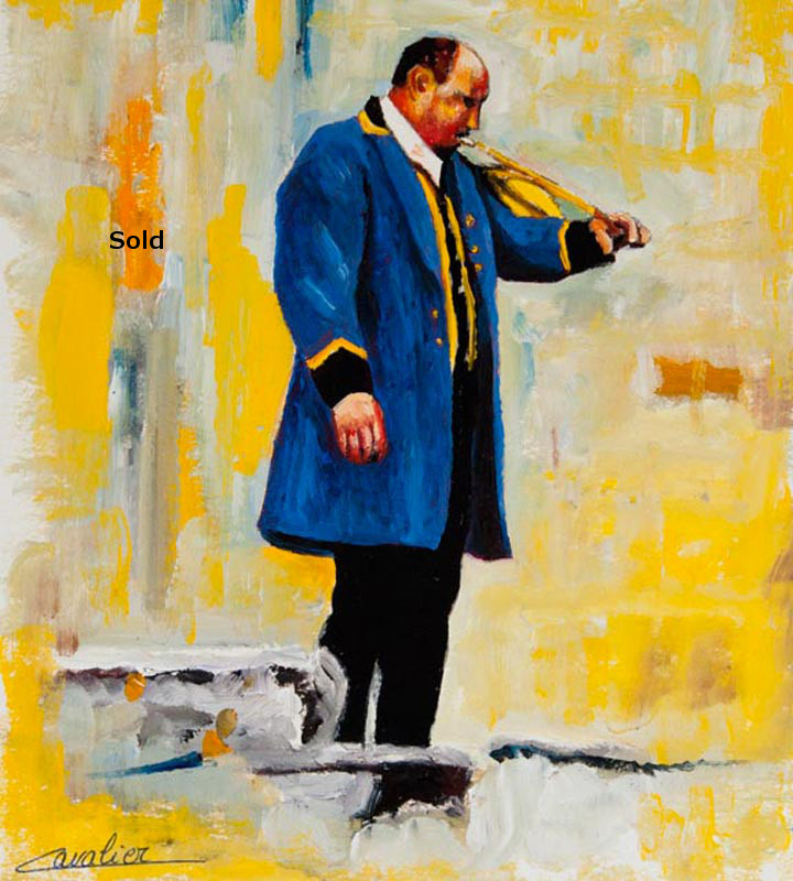 antoine-cavalier-oil-painting-on-paper-17-8x8-inches-horn-ringer-les-echos-des-provinces-private-collection